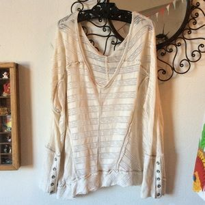 Free People Cream White Long Sleeve Gauzy Blouse
